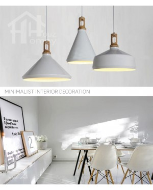 HH Minimalist 1-Light 3 Styles Pendant with Oak Wood Shade Holder