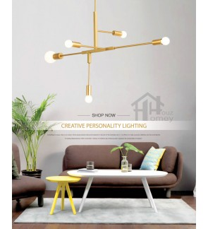 HH Metallic 5-Light Geometric Line Pendant
