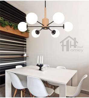 HH Minimalist 6-Light Wooden & Metal Pendant with Opal Glass Magic Bean Shade