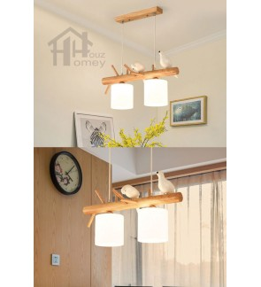 HH Natura Rubber Wood Pendant with Opal Glass Cylinder Shade