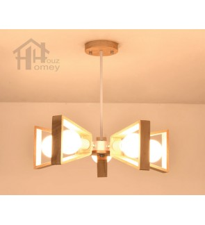 HH Minimalist 5-Light Rubber Wood & Metal Pendant with Rotatable Light Frame