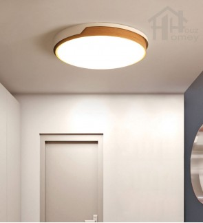 HH Minimalist Integrated LED Wood Grain Metal Round Ceiling Flushmount