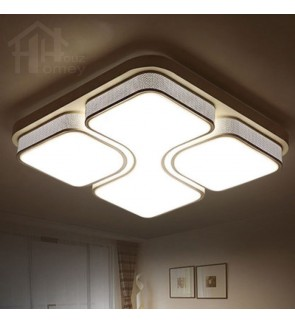 HH Minimalist Integrated LED White Rounded Square Ceiling Flushmount