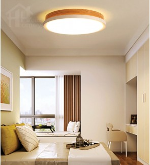 HH Minimalist Integrated LED Wood Grain Round Ceiling Flushmount