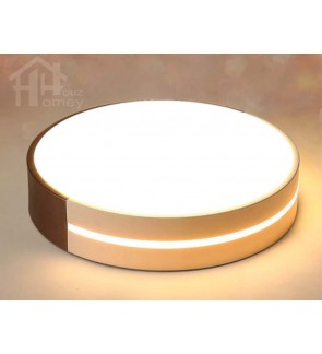 HH Minimalist Integrated LED Brown and White Drum Ceiling Flushmount