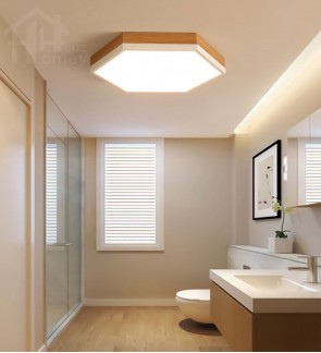 HH Minimalist Integrated LED Wood Graining White Hexagon Ceiling Flushmount