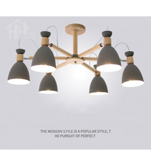 HH Retro 6-Light Wooden Ceiling Semi-Flushmount with Array Metal Dome Shade