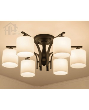 HH Classical 6-Light Black Metal Ceiling Semi-Flushmount with Cylinder Shade