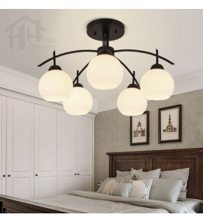HH Classical 5-Light Black Metal Ceiling Semi-Flushmount with Glass Sphere Shade
