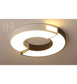 HH Minimalist Integrated LED Black and White Creative Round Ceiling Flushmount