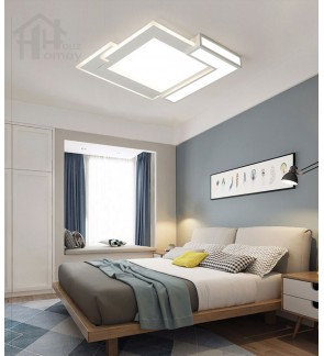 HH Minimalist Integrated LED White Metal Unique Square Ceiling Flushmount