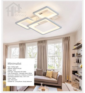 HH Minimalist Integrated LED 3-Light Grouped Square Ceiling Flushmount
