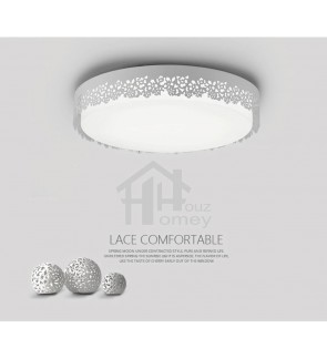 HH Minimalist Integrated LED White Metal Flower Lace Ceiling Flushmount