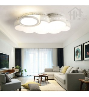 HH Minimalist Integrated LED White Metal Cloud Shaped Ceiling Flushmount