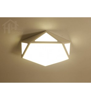 HH Minimalist Integrated LED White Metal Pentagon Ceiling Flushmount