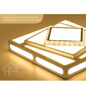 HH Classical Integrated LED White Metal Twisted Square Ceiling Flushmount