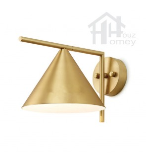HH Metallic 1-Light Gold Colour Wall Light with Brass Shade
