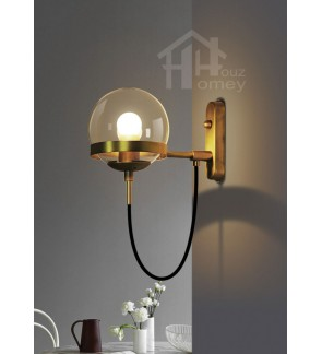 HH Metallic 1-Light Wall Light with Black Cord and Clear Glass Globe Shade