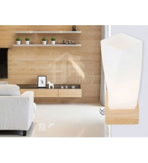 HH Natura 1-Light Rubberwood Wall Light with Opal Twisted Cube Shade