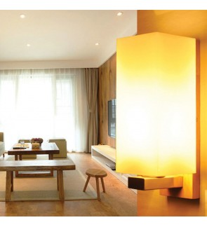 HH Natura 1-Light Rubberwood Wall Light with Opal Cube Shade