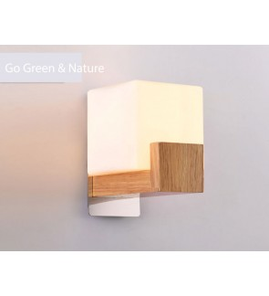 HH Natura 1-Light Rubberwood Wall Light with Opal Square Shade