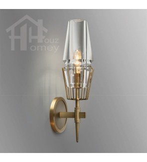 HH Classical 1-Light Gold Colour Wall Light with Clear Glass Shade