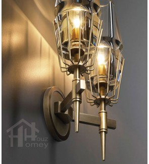 HH Classical 2-Light Gold Colour Wall Light with Clear Glass Shade
