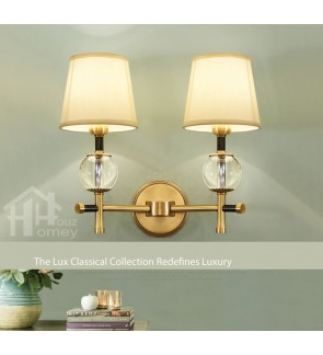 HH Classical 2-Light Gold Colour Wall Light with Crystalline Ball Accents