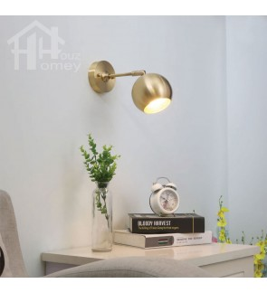 HH Metallic 1-Light Brass Swing Arm Wall Light with Brass Globe Shade