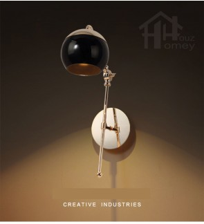 HH Metallic 1-Light Gold Colour Metal Wall Light with Black Glass Globe Shade
