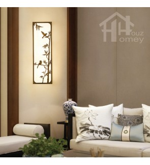 HH Asian-Zen 5-Light Metal Wall Light with Bamboo Metal Art Fabric Shade