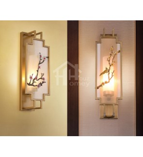 HH Asian-Zen 1-Light Metal Wall Light with Blossom Metal Art Fabric Shade