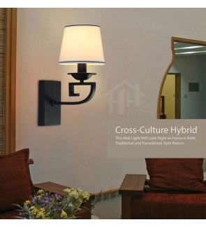 HH Asian-Zen 1-Light Black Metal Wall Light with White Fabric Cone Shade