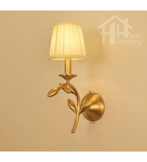 HH Metallic 1-Light Brass Floral Wall Light with White Fabric Cone Shade