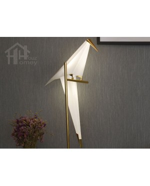 HH Metallic 1-Light Gold Colour Origami Floor Lamp with PP Paper Crane Shade