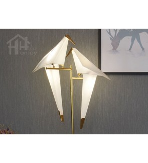 HH Metallic 2-Light Gold Colour Origami Floor Lamp with PP Paper Crane Shade