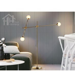 HH Metallic 3-Light Aluminium Alloy Floor Lamp with Opal Glass Globe Shade