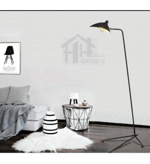 HH Minimalist 1-Light Black Metal Floor Lamp with Adjustable Metal Shade