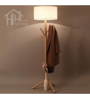 HH Natura 1-Light Ash Wooden Floor Lamp with White Fabric Drum Shade