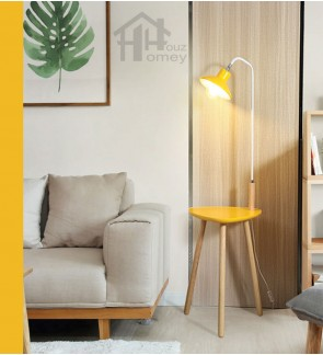 HH Colour-Pop 1-Light Floor Lamp with Metal End Table and Wooden Lamp Shade