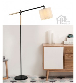 HH Minimalist 1-Light Floor Lamp with White Fabric Drum Shade