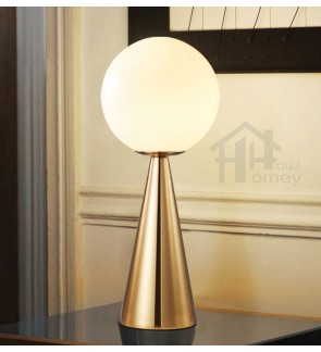 HH Metallic 1-Light Aged Brass Metal Table Lamp with Opal Glass Globe Shade