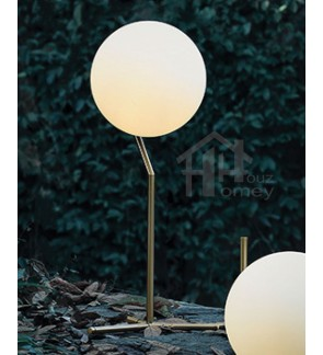 HH Metallic 1-Light Gold Colour Metal Table Lamp with High Glass Globe Shade