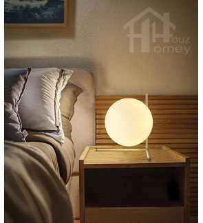HH Metallic 1-Light Gold Colour Metal Table Lamp with Low Glass Globe Shade