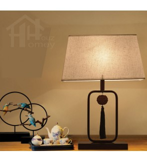 HH Cross-Culture 1-Light Wood Grain Table Lamp with White Fabric Rectangle Shade