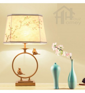 HH Cross-Culture 1-Light Metal Table Lamp with White Fabric Hexagon Shade