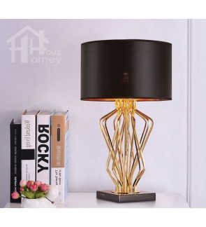 HH Metallic 1-Light Gold Colour Metal Table Lamp with Fabric Drum Shade