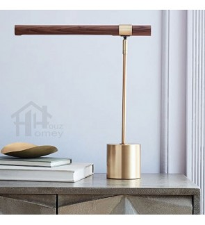 HH Metallic Integrated LED Metal Table Lamp with Wood Grain Finish Shade