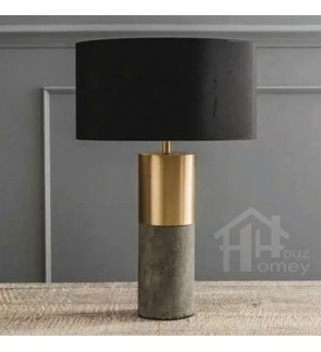 HH Metallic 1-Light Metal Table Lamp with Fabric Drum Shade and Cement Base