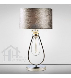 HH Classical 1-Light Silver Colour Metal Table Lamp with Grey Fabric Drum Shade